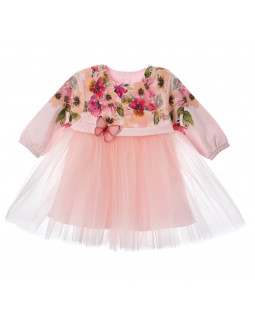 Pink Dress with Flower Print and Tulle Skirt