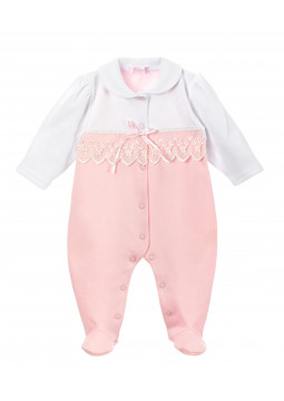 Babygrow in pink & white with lace panel