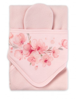 Hooded Towel with washglove and Flower Print