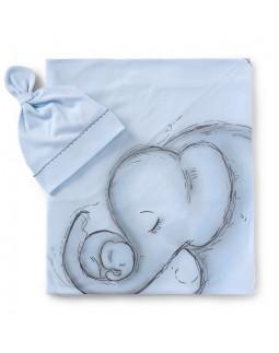 Blue Swaddle Wrap & Cap